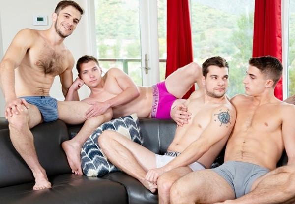 Elye Black, Donte Thick, Princeton Price & Zane Williams Have A Bareback Orgy – Playtime Buddies