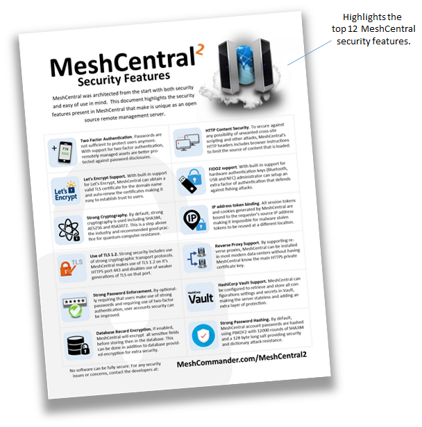 http://info.meshcentral.com/downloads/MeshCentral2/MeshCentral2SecurityFeaturesGuide.pdf