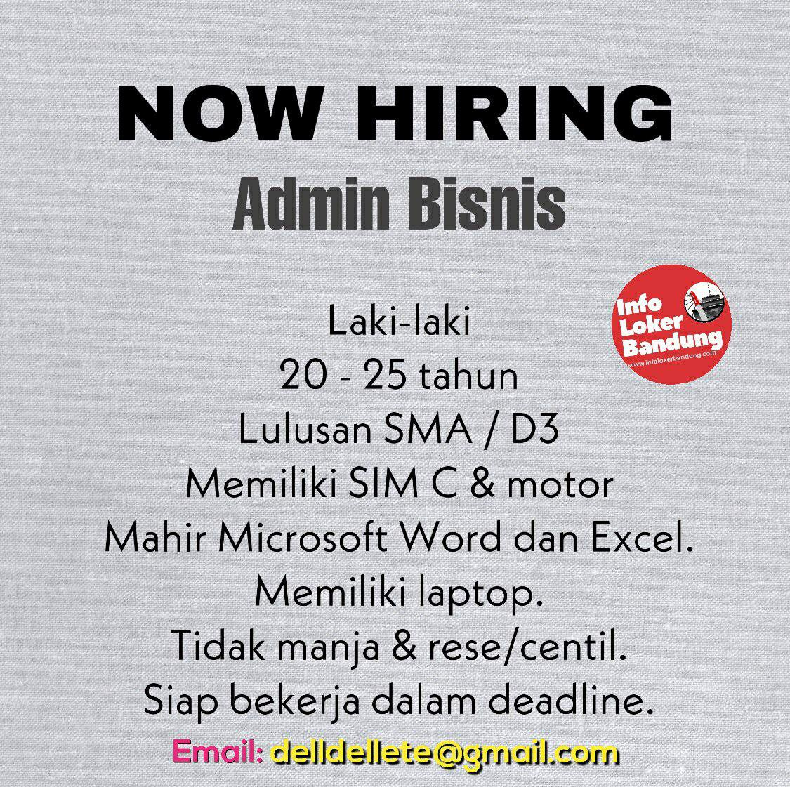 Lowongan Kerja Admin Bisnis Dellete Studio Bandung Juli 2019