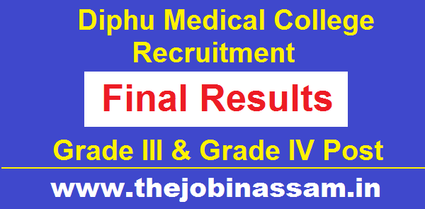 Diphu Medical College Final Result of Grade III (Non-Technical) and Grade IV Post
