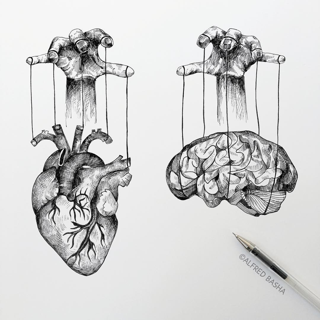 02-Heart-and-Brain-Manipulation-Alfred-Basha-Diverse-Black-and-White-Surreal-Drawings-www-designstack-co