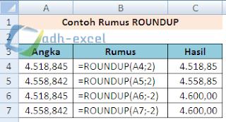rumus ROUNDUP excel