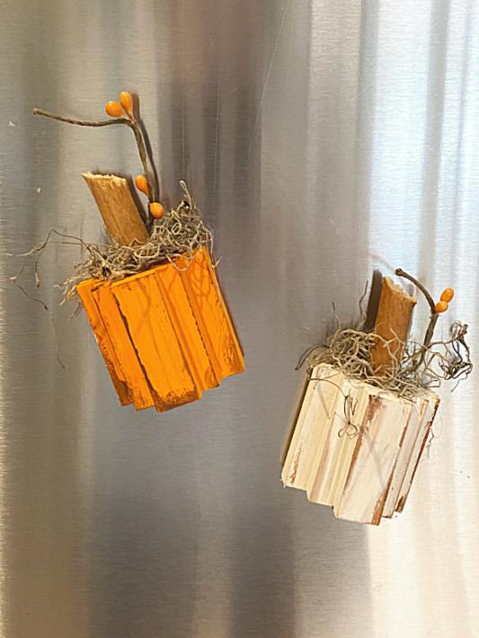 pumpkins on stainless refrigerator
