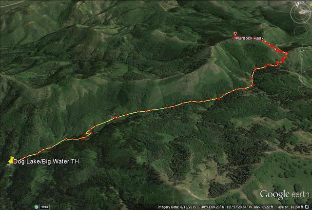 Murdock Peak, Utah trail map