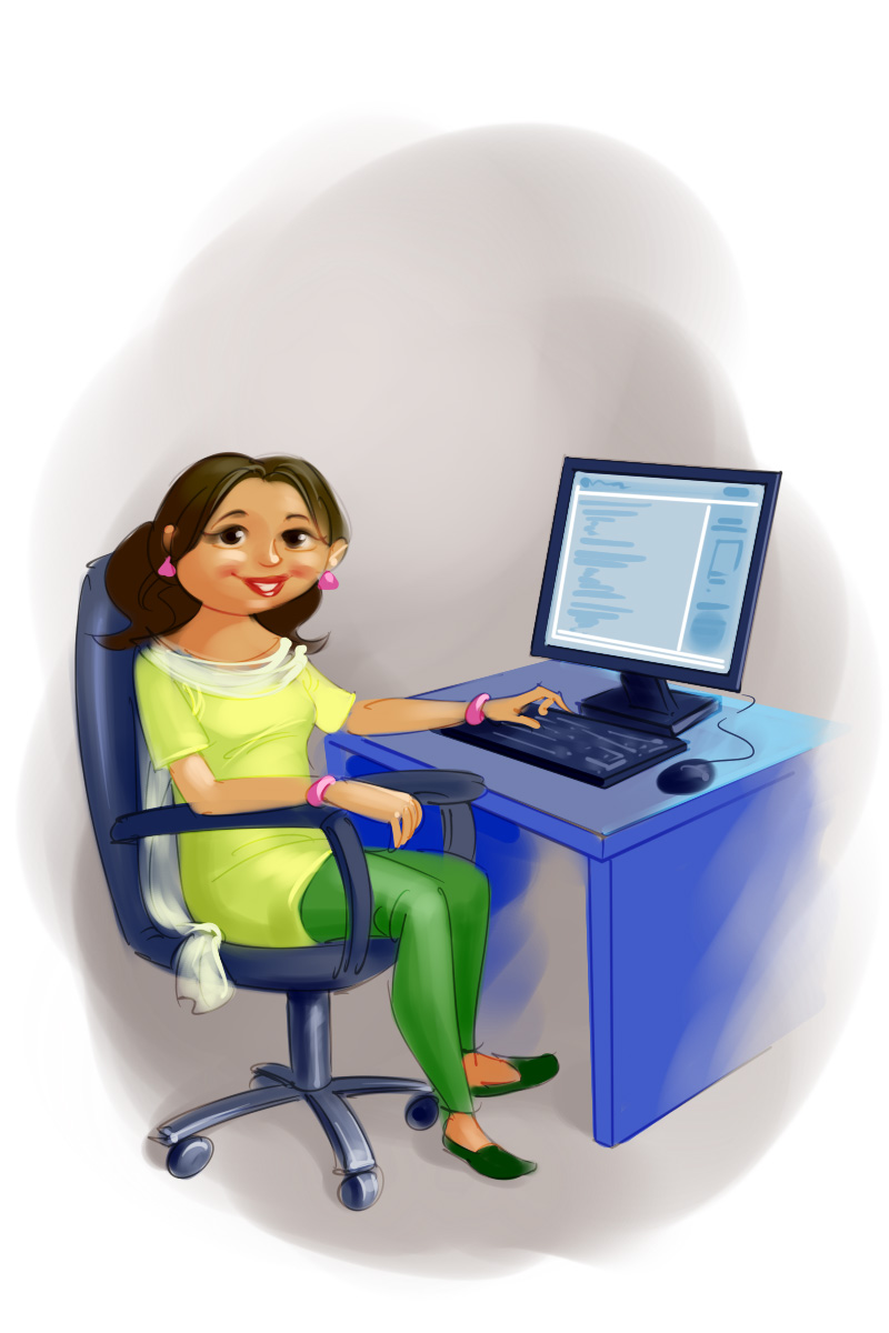 insurance company advertisement young it girl working on computer cartoon illustration
