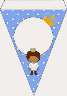 Afro Baby Prince Free Printable Invitation, Banner and Cone.