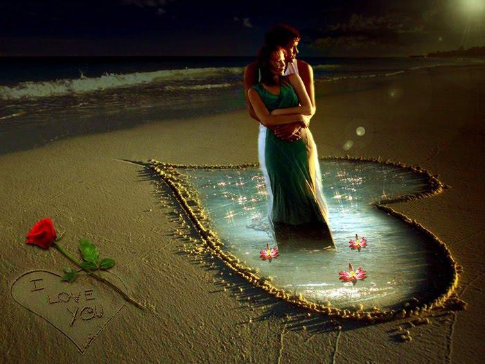 Pareja De Enamorados Bajo La Luz De La Luna Wallpaper Hd Night Sky