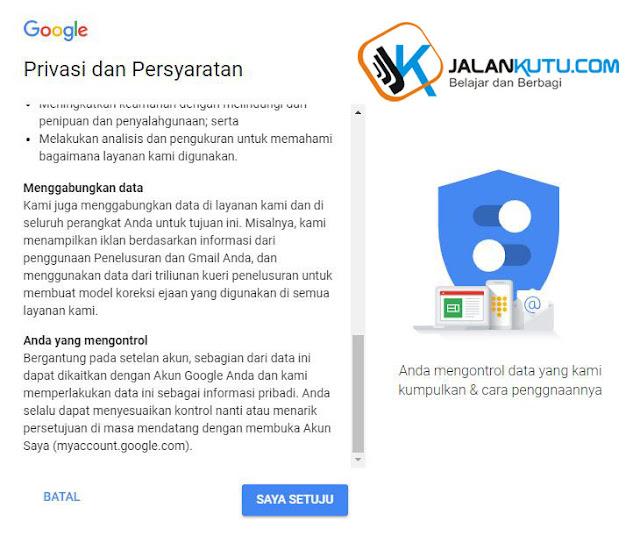 form privacy dan persyaratan bikin akun google