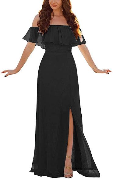Fashionable Black Chiffon Bridesmaid Dresses