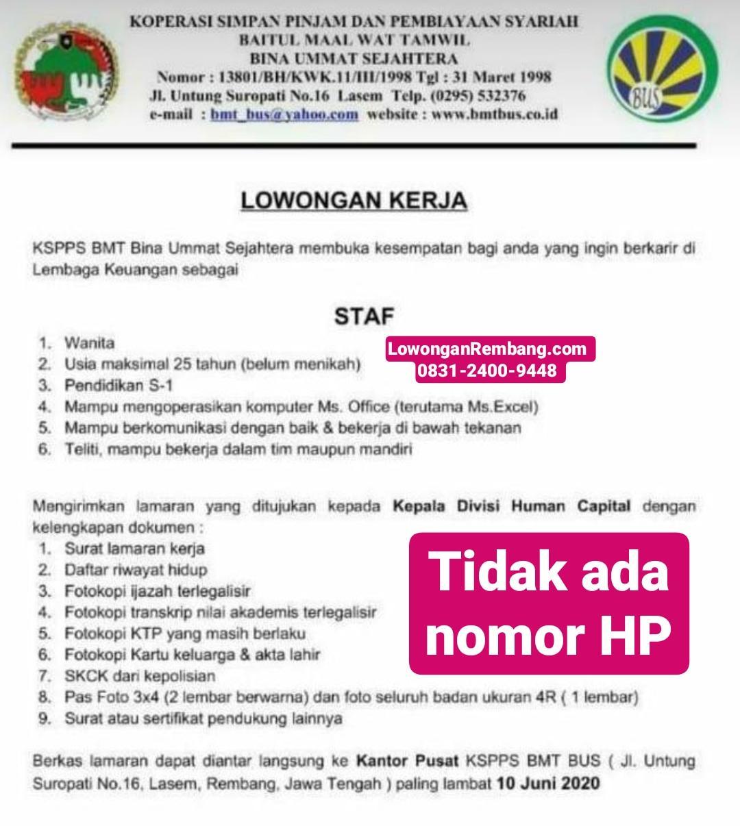 Lowongan Kerja Staf KJKS BMT BUS Lasem Rembang