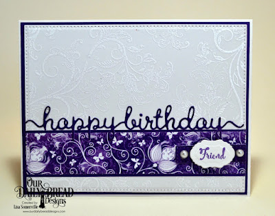 Stamp Sets: A Happy Hello, To My Favorite, ODBD Custom Dies: Pierced Rectangles, Vintage Labels, Happy Birthday Script, ODBD Paper Collections: Plum Pizzazz, Whimsical Wildflowers