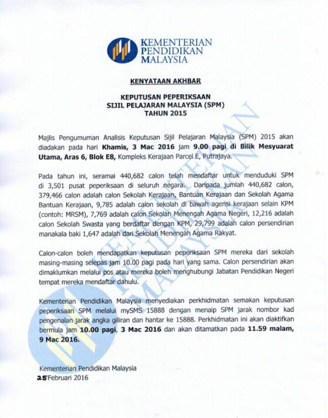 Debaran Keputusan SPM 2015!