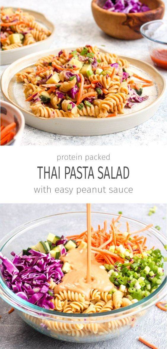 PROTEIN PACKED THAI PASTA SALAD (VEGAN + GLUTEN FREE) #protein #thaipasta #pasta #pastarecipes #vegan #veganrecipes #veggies #salad #glutenfree #dinnerideas #dinner #dinnerrecipes