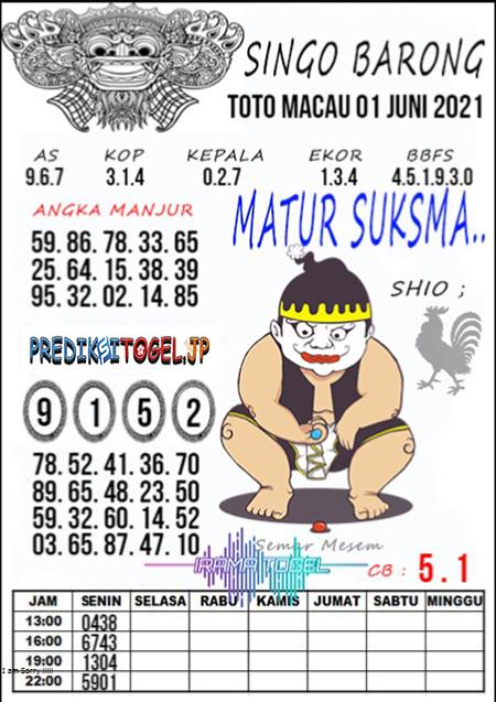 Syair Top Singo Barong Toto Macau Selasa 01 Juni 2021