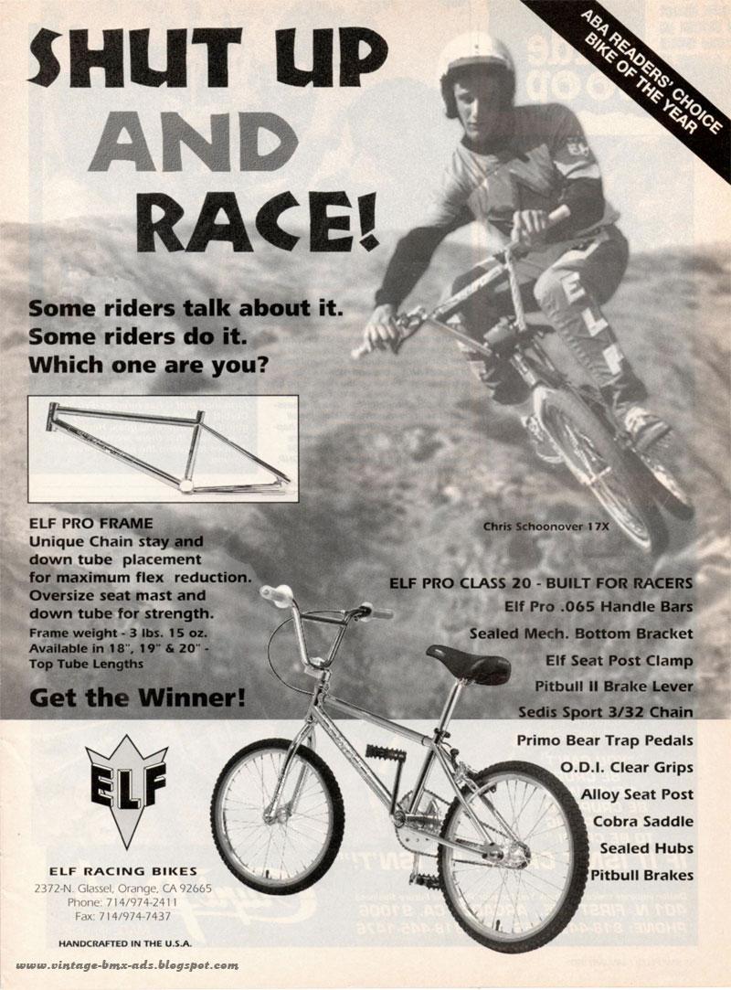 c7d05421584582 Vintage BMX Ads  SHUT UP AND RACE! - ELF Pro Class 20