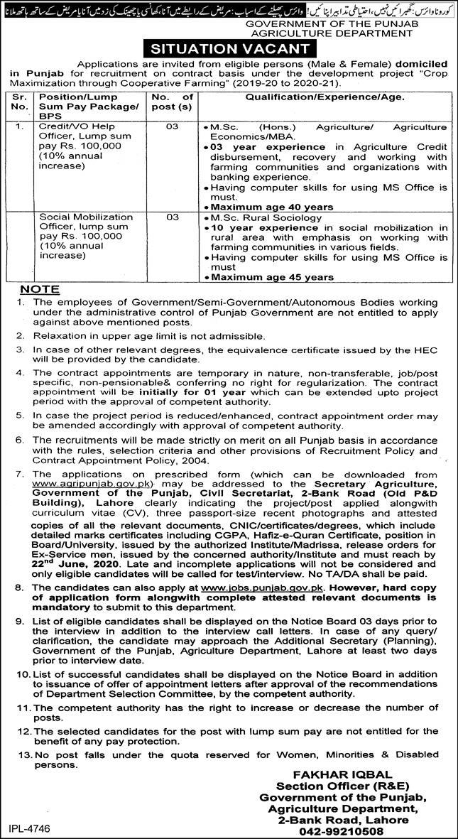 Agriculture Department Lahore Jobs