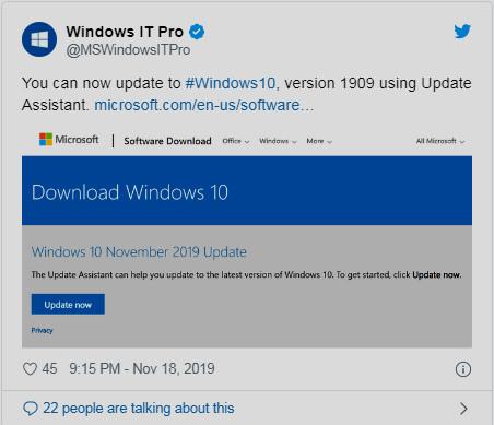 كيف تحصل على  تحديث نوفمبر 2019 الإصدار 1909 لويندوز 10 الان ؟