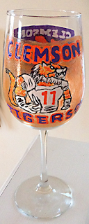 hand painted Clemson University sports glassware