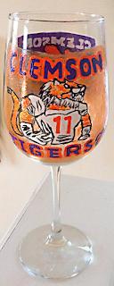 hand painted Clemson University sports glassware