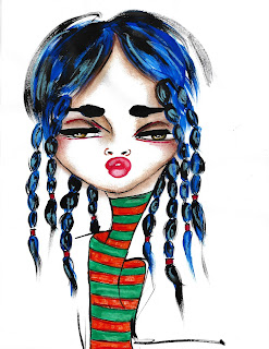 Bebee Pino girl with blue braids and stripe shirt
