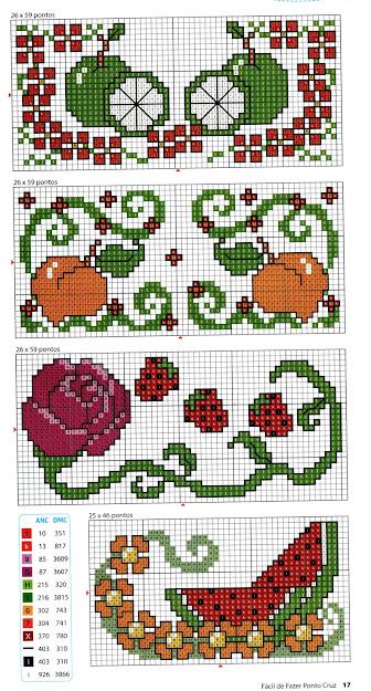 schemi per bordure da ricamare a punto croce-fiori e frutta