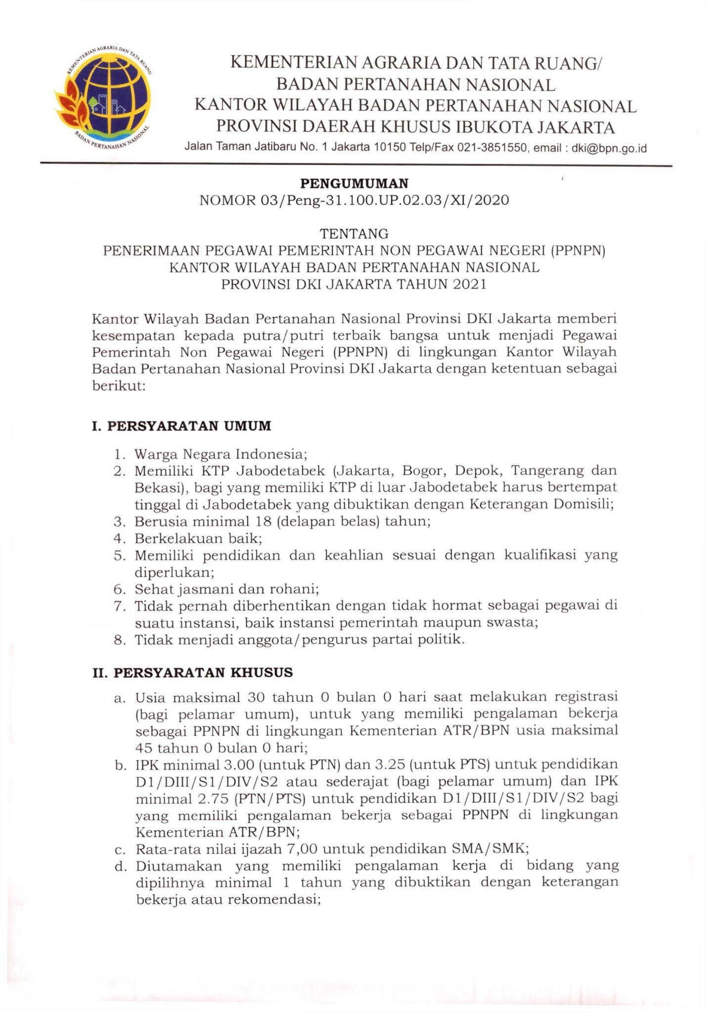 Lowongan Kerja Tenaga PPNPN Kementerian ATR/Badan Pertanahan Nasional Tingkat SMA SMK D3 S1