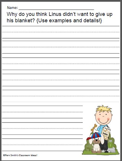 Fern Smith's Classroom Ideas FOREVER FREE Happiness is a Warm Blanket Charlie Brown Writing Activity with an interactive notebook activity for Free. Full You Can Be Anything Literacy Center is available at my TeacherspayTeachers store.