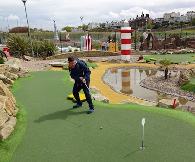 Playing the Championship Adventure Golf course in New Brighton on National Miniature Golf Day 2017