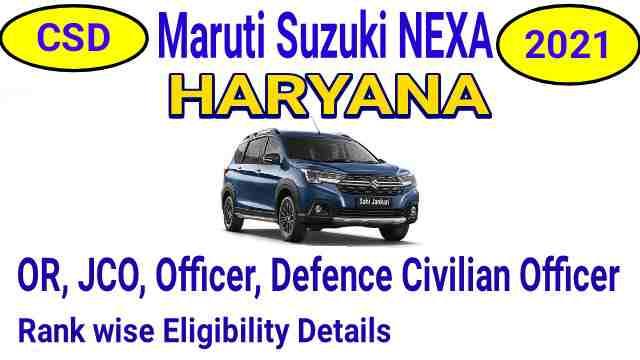CSD Car Price List 2021 Maruti Suzuki NEXA Gurugram Haryana