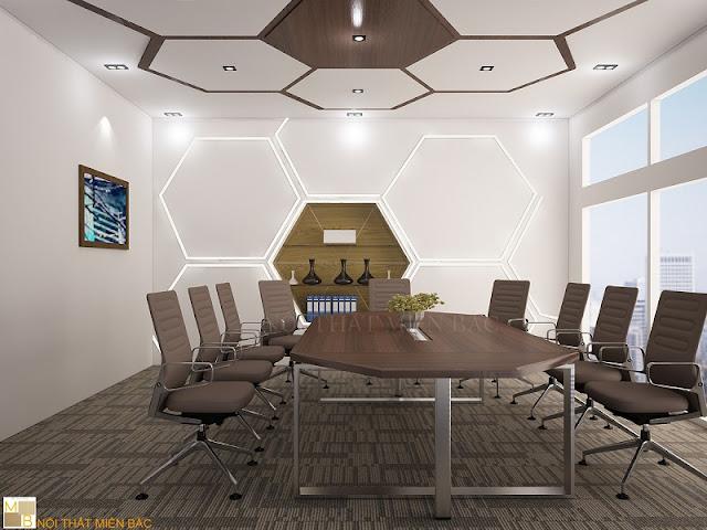 Thiết kế nội thất phòng họp giá rẻ với bàn họp hình chữ nhật, nhỏ có thể là chất liệu từ gỗ hay kim loại sang trọng.
