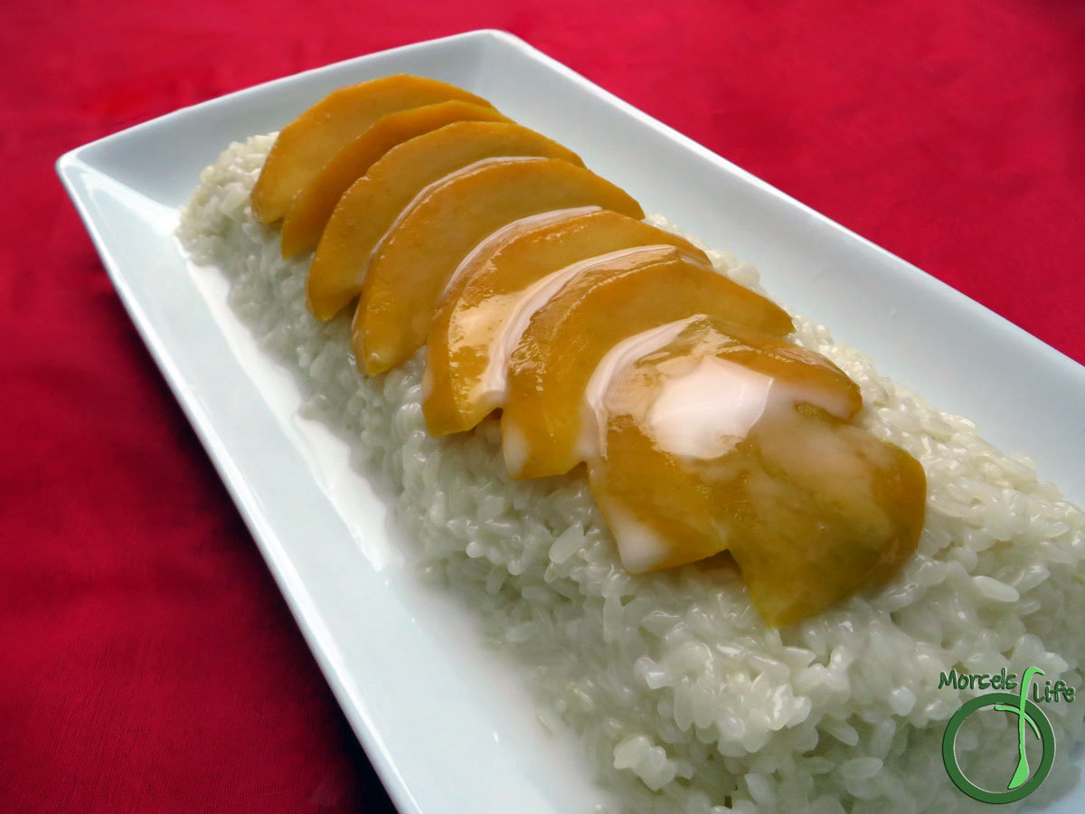 Morsels of Life - Mango Sticky Rice - Find out how to make the delectable mango sticky rice. Includes how to make coconut sticky rice, the basis of many Thai desserts.