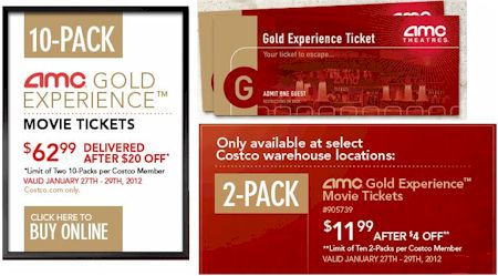 AMC Gold Movie Ticket Just 6 In Store Or 630 Online At Costco