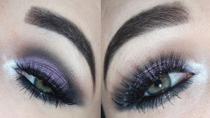 tutorial maquiagem roxo com brilho e preto