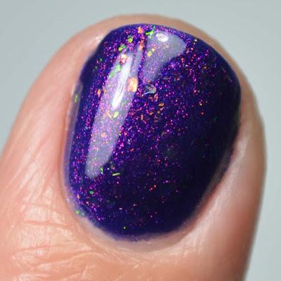 purple color shifting nail polish close up swatch