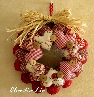 Labores de lis corona de navidad patrones de regalo - Decoracion navidena artesanal ...