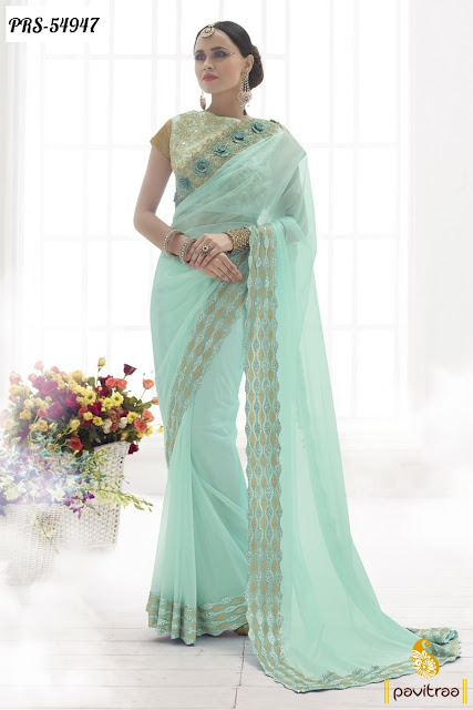 New Year 2016 wedding wear ice blue color net designer saree online shopping collection with discount offer price at pavitraa.in