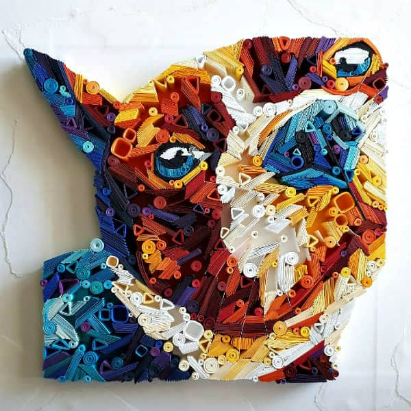 colorful quilled dog paper portrait