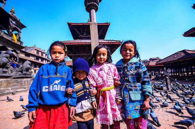 Děti_Durbar_square_Kathmandu