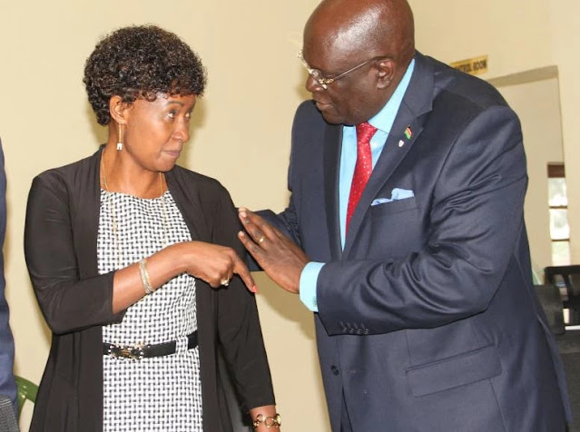 TSC CEO Nancy Macharia and Prof. George Magoha photo