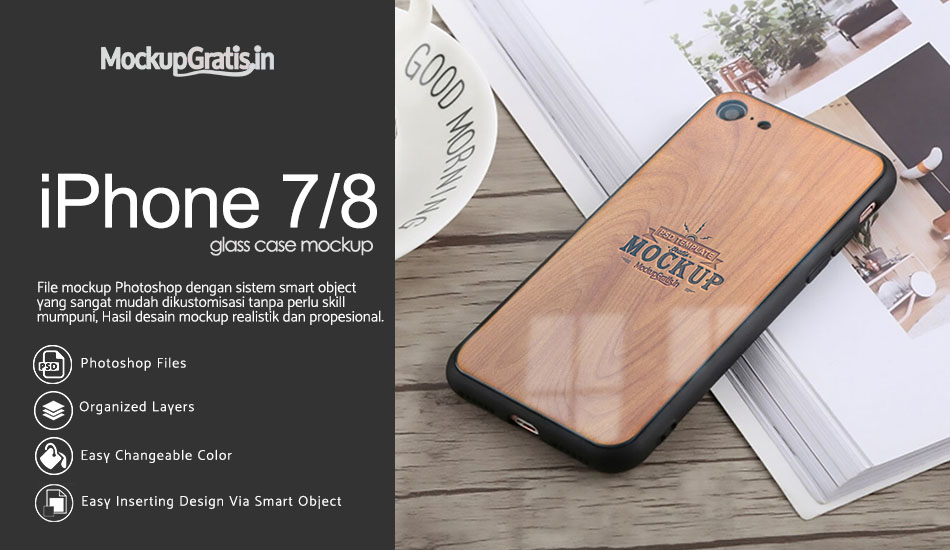 Mockup Glass Case iPhone 7/8 Gratis