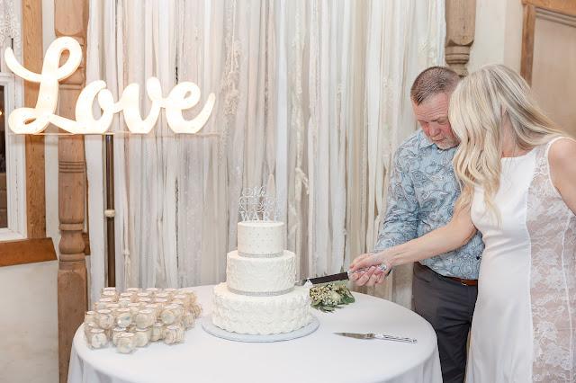cake cut at shenandoah mill reception