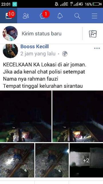 Postingan warga Tanjungbalai yang tewas ditabrak kereta api di Asahan.