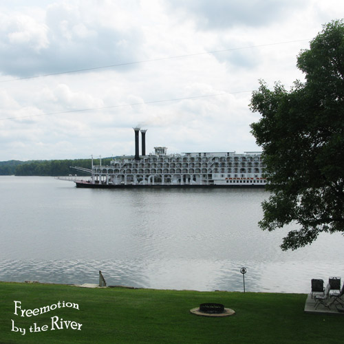 American Queen riverboat going by our house on the Mississippi River
