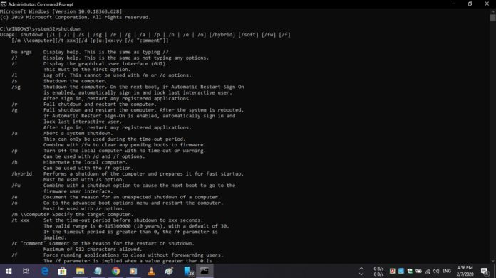 Shut down Windows 10 using CMD.