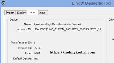 informasi device kartu suara