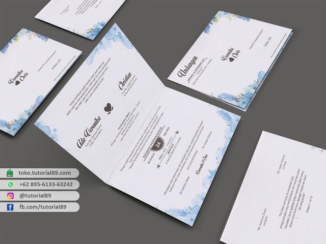 Undangan pernikahan 89.S182 - Seimpel Lipat 2 +stiker label undangan
