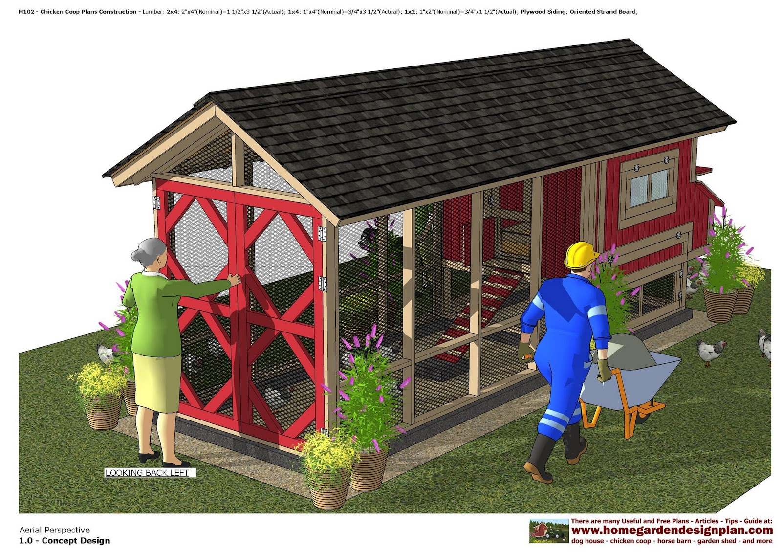 home garden plans M102 Chicken Coop Plans Construction Chicken – Chicken Coop With Garden Roof Plans