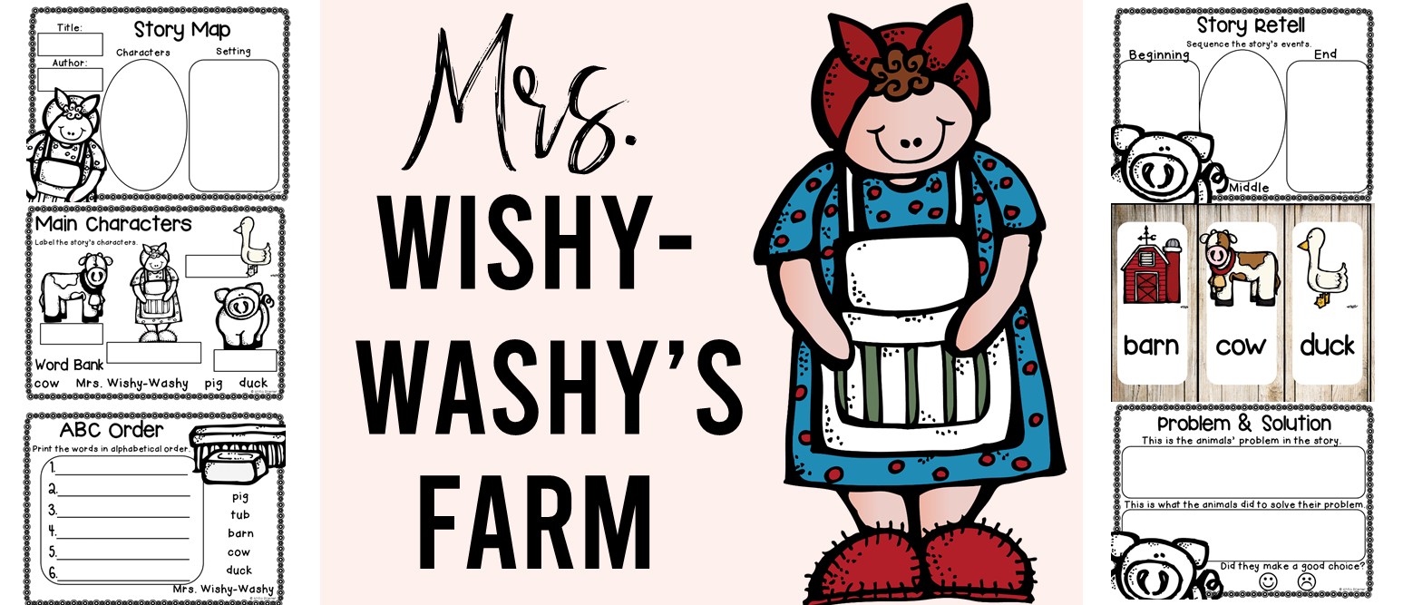 Mrs. Wishy-Washy's Farm book study companion activities to go with the book by Joy Cowley. Perfect for whole class guided reading, small groups, or individual study packs. Packed with lots of fun literacy ideas and guided reading activities. Common Core aligned. K-1 #bookstudies #bookstudy #picturebookactivities #kindergarten #1stgrade #literacy #guidedreading #mrswishywashy