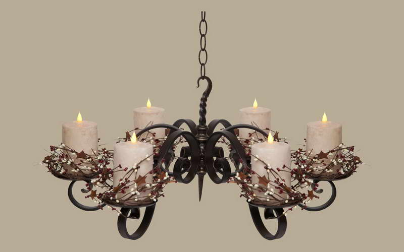 Non Electric Pillar Wrought Iron Candle Chandeliers Design