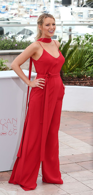 "Actress, Model, @ Blake Lively Stuns In Red At Cannes Film Festival 2016 Photocall For ""Café Society"""